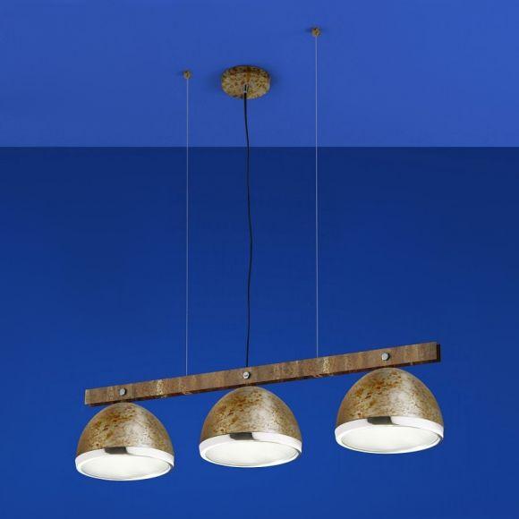 b leuchten 3 flammige led pendelleuchte in rost chrom wohnlicht. Black Bedroom Furniture Sets. Home Design Ideas