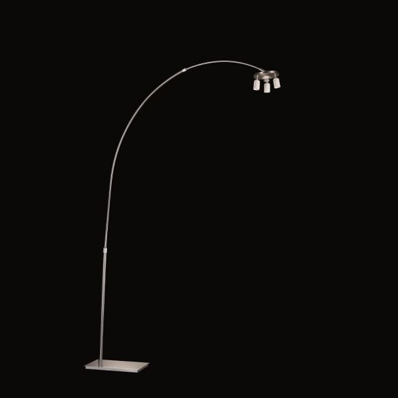 Bogenstehleuchte Stehlampe, mit Fußdimmer, 3x E27 Fassung, für Stoffschirme Textilschirme, Nickel-matt