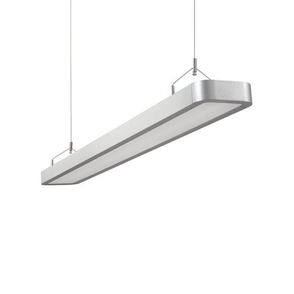 Büro Pendelleuchte Aluminium Druckguss/Kunststoff , silber inkl. 2xT5 28W 4000K Alu Druckguss / Kunststoff