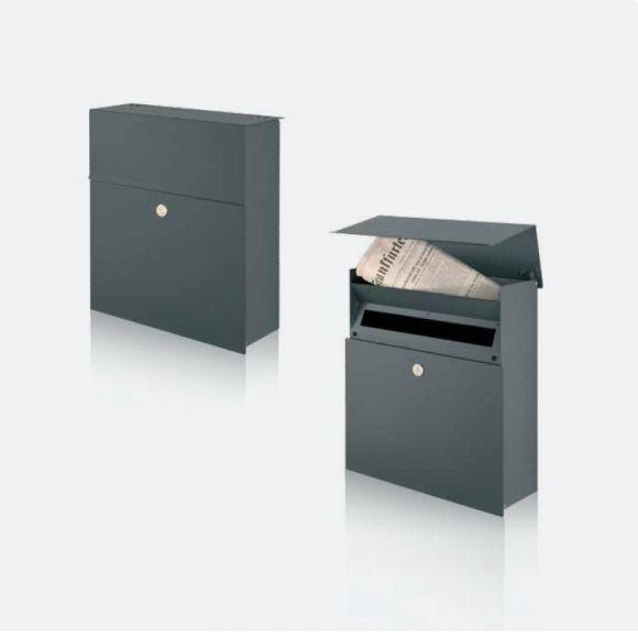briefkasten mit integriertem zeitungsfach in grafit. Black Bedroom Furniture Sets. Home Design Ideas