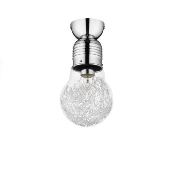 Bulb Glühbirne mit Drahtfäden in Chrom, Deckenleuchte