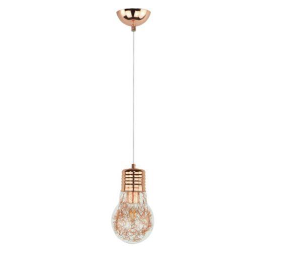 Bulb Glühbirne mit Drahtfäden in Kupfer, Pendelleuchte