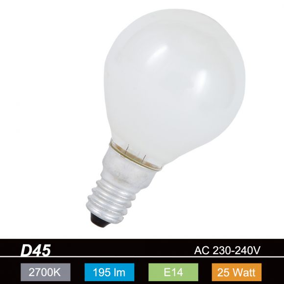 D45 Tropfen 25W opal weiß E14