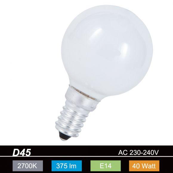 D45 Tropfen 40W opal weiß  E14  stoßfest 1x 40 Watt, 40 Watt, 375,0 Lumen