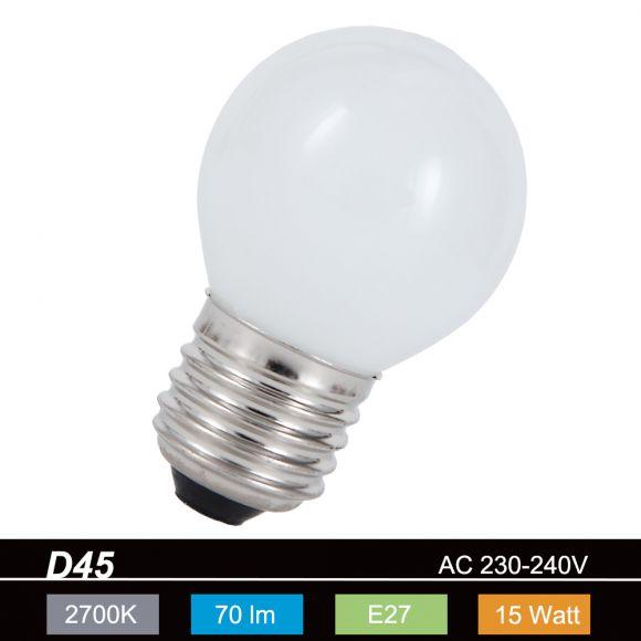 D45 Tropfen 15 Watt opal weiß, E27  stoßfest