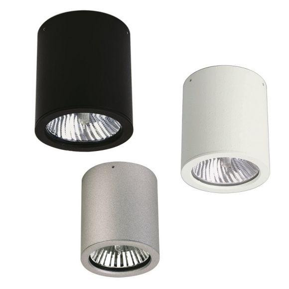 deckenaufbauleuchte aus aluminiumguss in 3 farben schwarz wei und silber wohnlicht. Black Bedroom Furniture Sets. Home Design Ideas