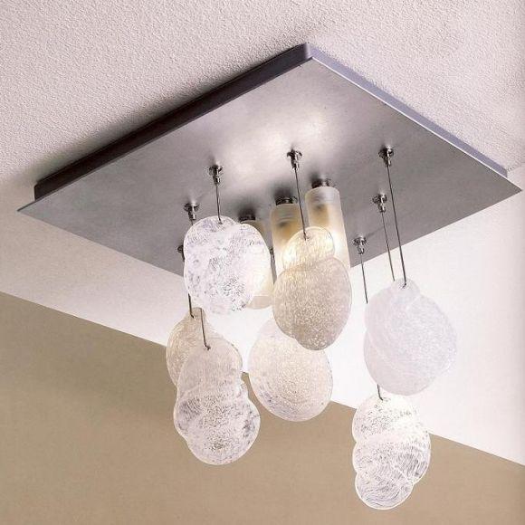 Deckenleuchte 30x30cm, dekorativ und hochwertig ,Glaselemente einzeln wählbar