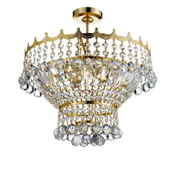 Deckenleuchte 5-flg. Versailles aus Kristallglas in 2 Oberflächen