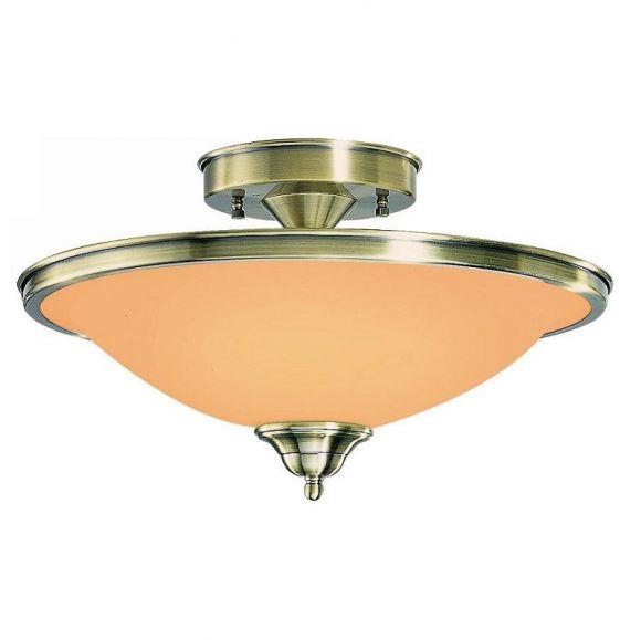 Deckenleuchte in Altmessing, mit Glasschirm in Amber, inklusive E 27 Leuchtmittel