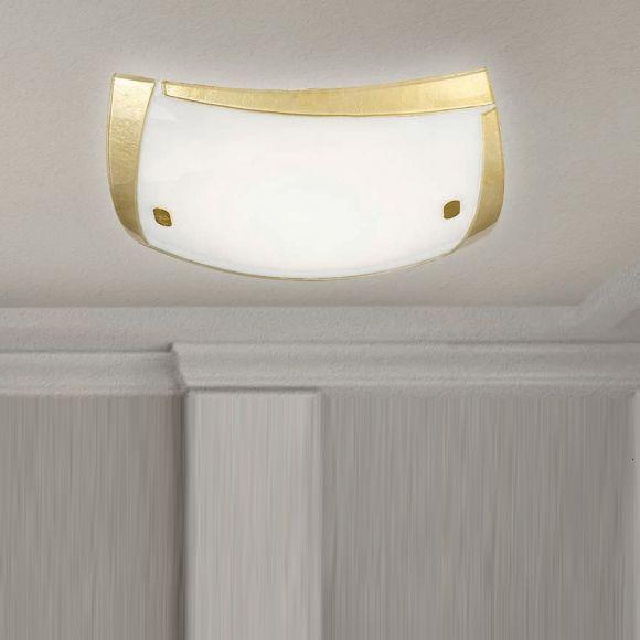 Deckenleuchte aus hochwertigem Glas - Mit Rahmen in Gold - 3 Größen