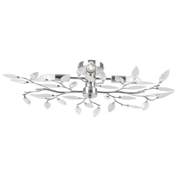 Deckenleuchte in Chrom, dekorativ durch die klaren und satinierten Glasblätter, inklusive 4 x E14 40Watt Kerze klar