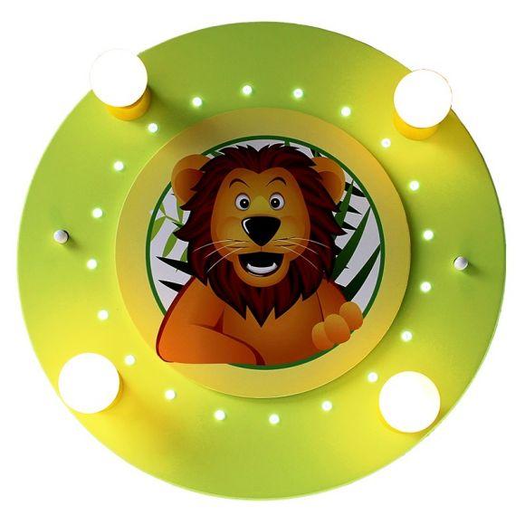Deckenleuchte fürs Kinderzimmer mit großem Löwen in lindgrün