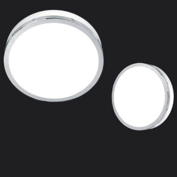Deckenleuchte Flush Chrom, rund, Glas weiß, 3 Größen