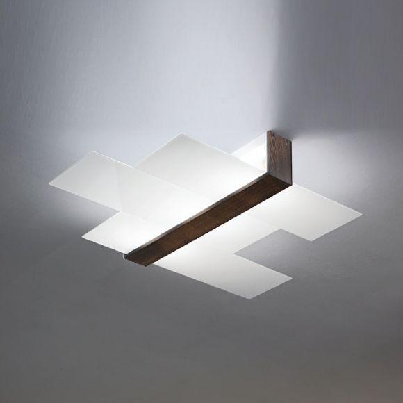 Deckenleuchte mit Glas Weiß / Armatur wengè - 88x73cm