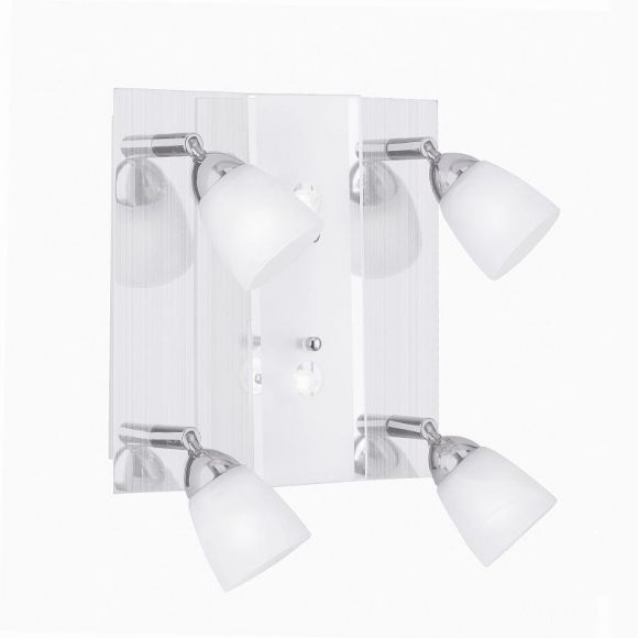 Deckenleuchte mit 4- Strahlern- aus poliertem Stahl- mit teilsatiniertem Dekoglas