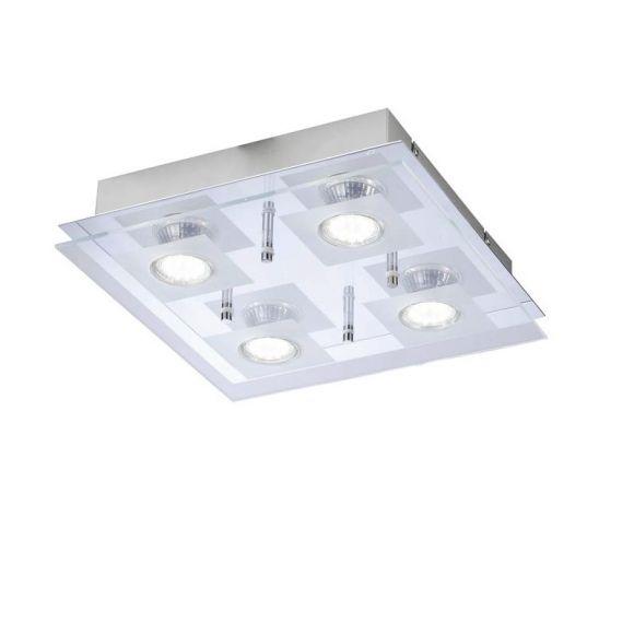 Deckenleuchte mit teilsatinierter Glasabdeckung - Inklusive LED-Leuchtmittel 4x3Watt + LED Taschenlampe