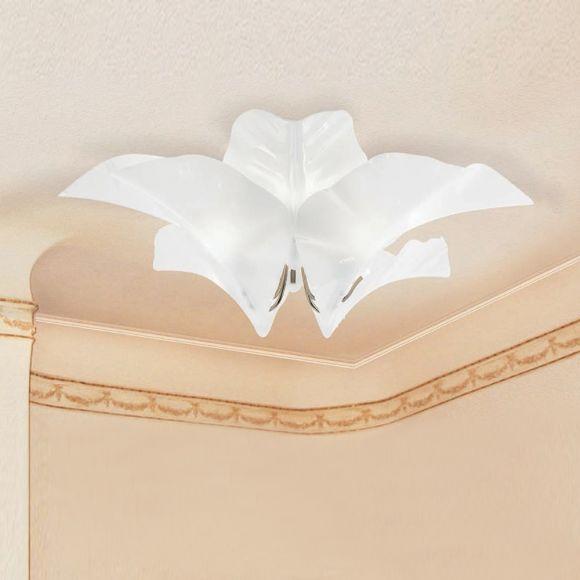 Deckenleuchte, beschichtet, Florentiner Stil, Glas, Weiß