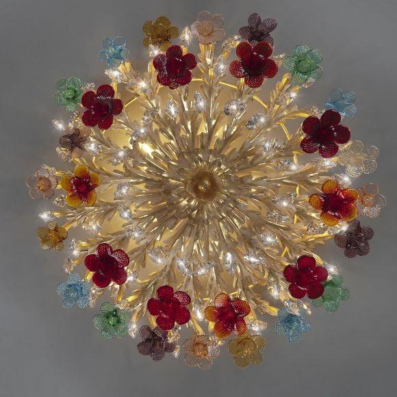 Deckenleuchte, Blattgold, buntes Muranoglas