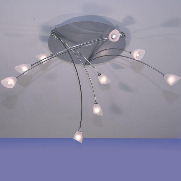 Deckenleuchte 9- oder 15-flammig, aus Alu/Edelstahl, Glas weiß