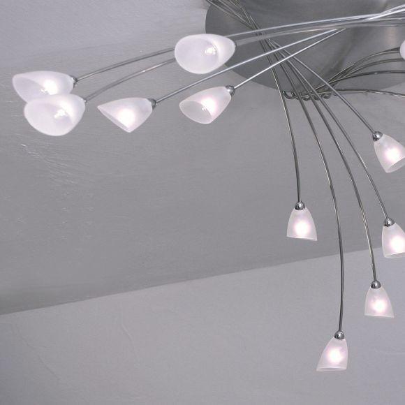 Deckenleuchte 9 oder 15 flammig wählbar, aus Aluminium geschliffen und Edelstahl, Glas weiß