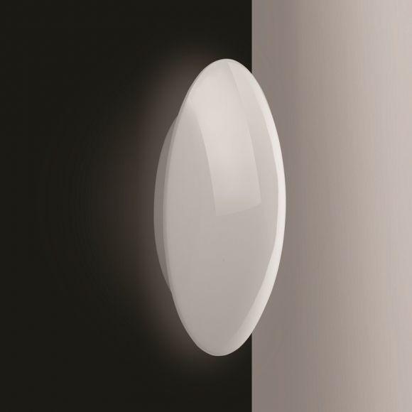 Deckenleuchte, Opalglas glänzend / Kristallrand, 32cm