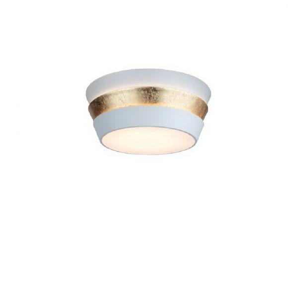 Deckenleuchte - runder Schirm in Weiß / Gold 58,5 cm