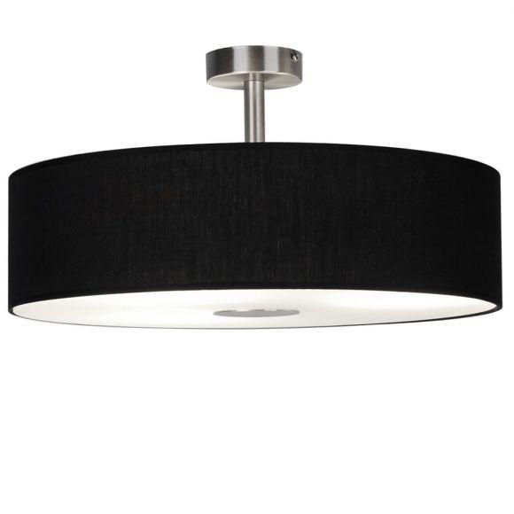 Deckenleuchte, Stofflampenschirm, Glasplatte, D=40cm, Schwarz o. Braun