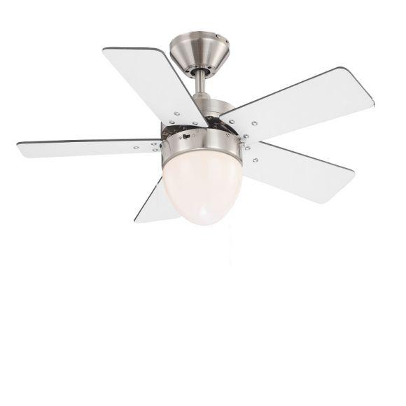 Deckenventilator beleuchtet in Nickel-matt mit weißen und graphitfarbenen Flügeln, inklusive E27 60Watt Leuchtmittel matt