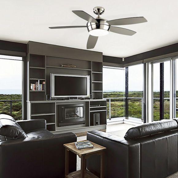 deckenventilator mit licht in wei oder nickel w hlbar inklusive fernbedienung 132cm wohnlicht. Black Bedroom Furniture Sets. Home Design Ideas