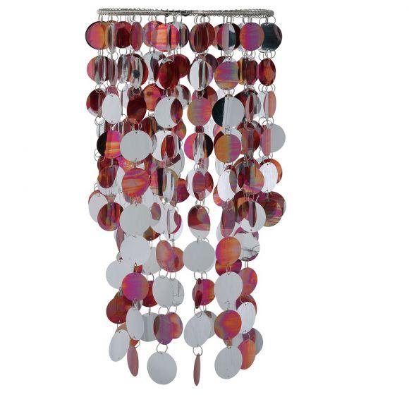 Dekorativer Lampenschirm - Chrom und Kunststoff -  Durchmesser 27 cm - Höhe 47 cm - Bunt