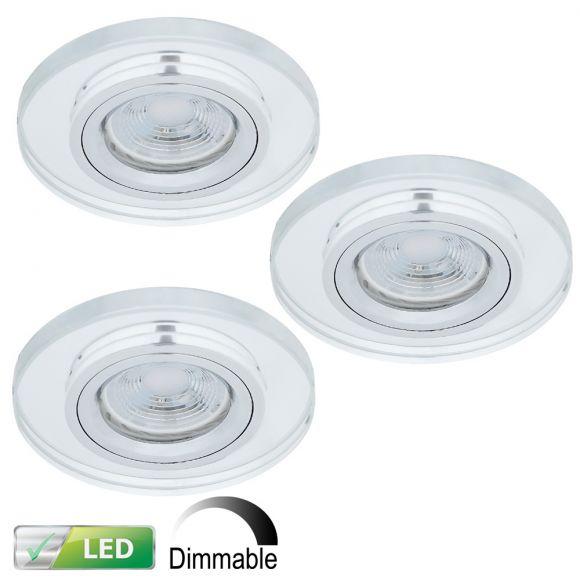 LHG Dimmbarer LED-Einbaustrahler Glas rund, 3er-Set LED 5W