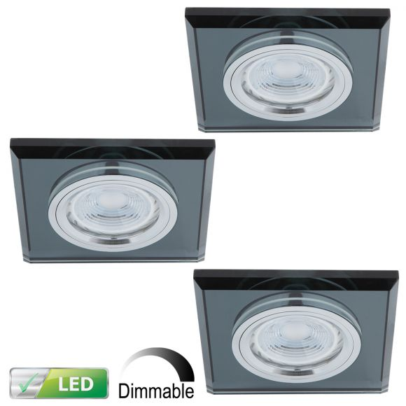 Dimmbarer LED-Einbaustrahler Glasrahmen eckig, schwarz, 3er-Set GU10 5W