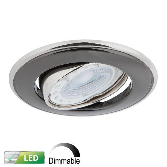 Dimmbarer LED-Einbaustrahler Nickel / Graphit rund, LED GU10 5W
