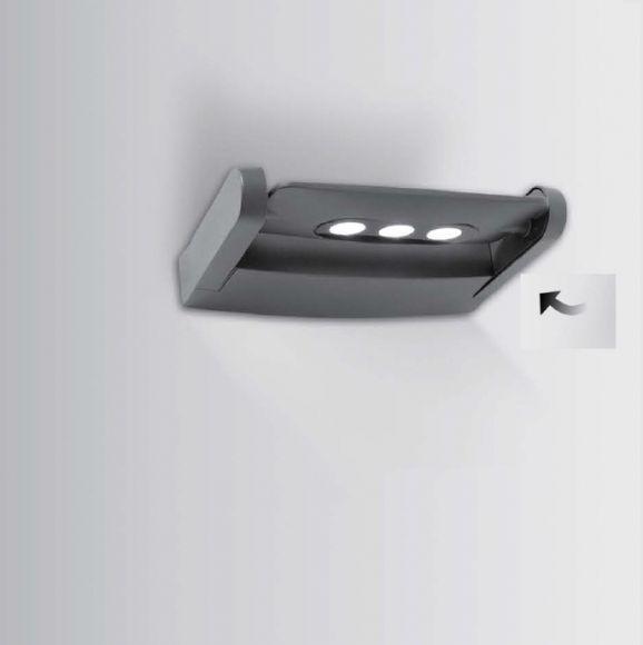 drehbare LED-Außenwandleuchte, 3x3Watt, in Anthrazit, Alu-Guss