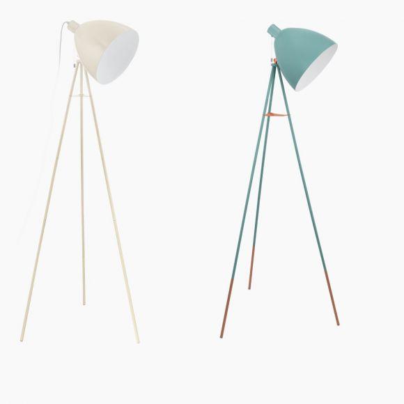 Dreibein Stehleuchte im Retro-Design Sandfarben oder Mint