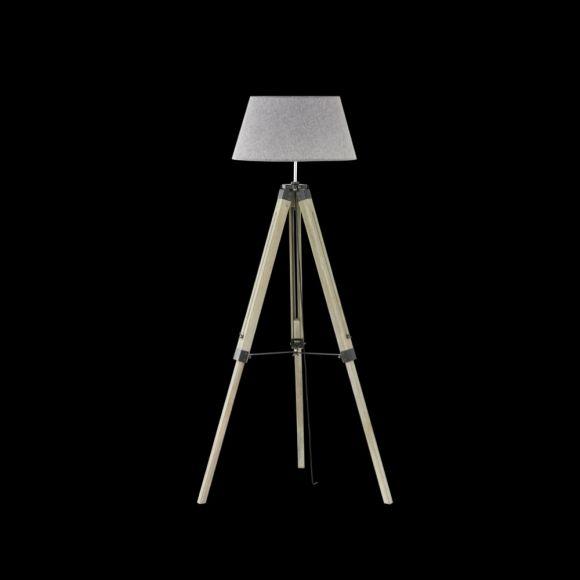 Dreibein-Stehleuchte Stage, Materialmix Holz Metall, Tripod mit grauem Stoffschirm, Fassung E27