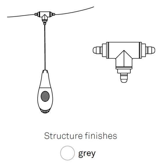 Drei-Weg-Verbinder zur Pod Lens von Luceplan - grau