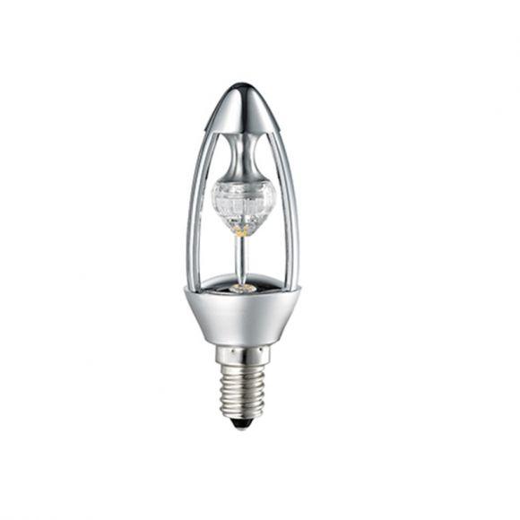 E14 LED-Kerzenlampe Crystal silber, 5 W, dimmbar