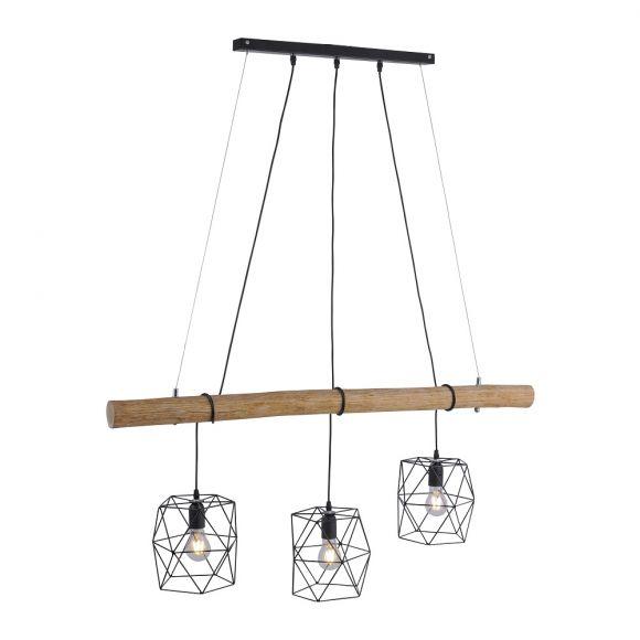 Echtholz Balken Pendelleuchte  3flammig  höhenverstellbaren Käfig-Schirmen, E27, 120cm