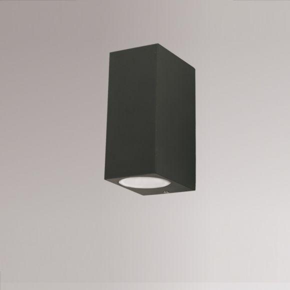 eckige Up & Down Außenwandleuchte anthrazit / schwarz für die Hauswand, 15 cm hoch, GU10, aus Aluminium IP44