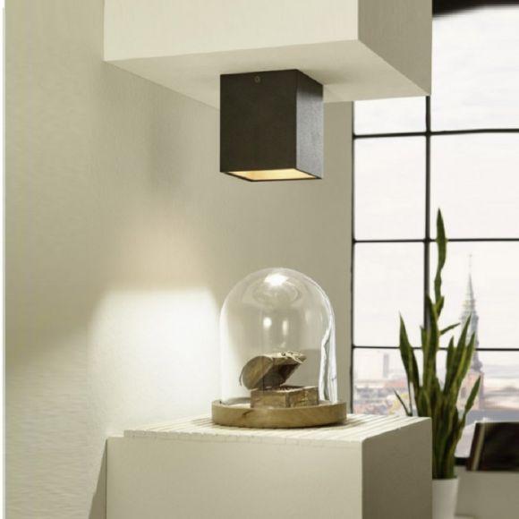Eckige LED-Deckenleuchte in Schwarz, innen kupfer- oder gold