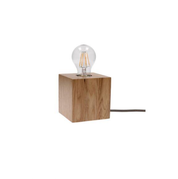 Eckige Tischleuchte Trongo 10x10cm, Holz Eiche, Kabel wählbar