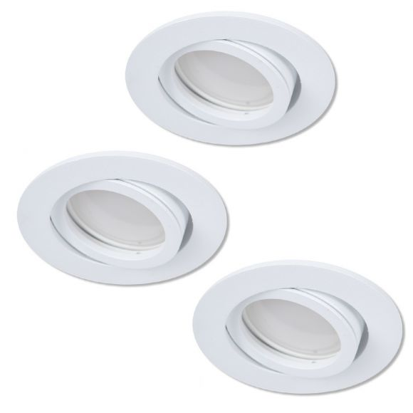 LHG Einbaustrahler 3er Set, weiß, rund, D 8,2 cm, 3-fach schalterdimmfähig