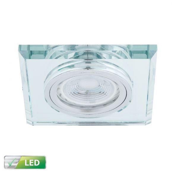 einbaustrahler mit glasrahmen eckig silber inklusive led leuchtmittel 1 x gu10 5 watt. Black Bedroom Furniture Sets. Home Design Ideas