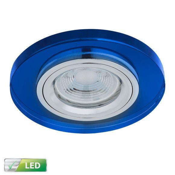 Einbaustrahler rund mit Glas blau, 1x LED GU10 5W