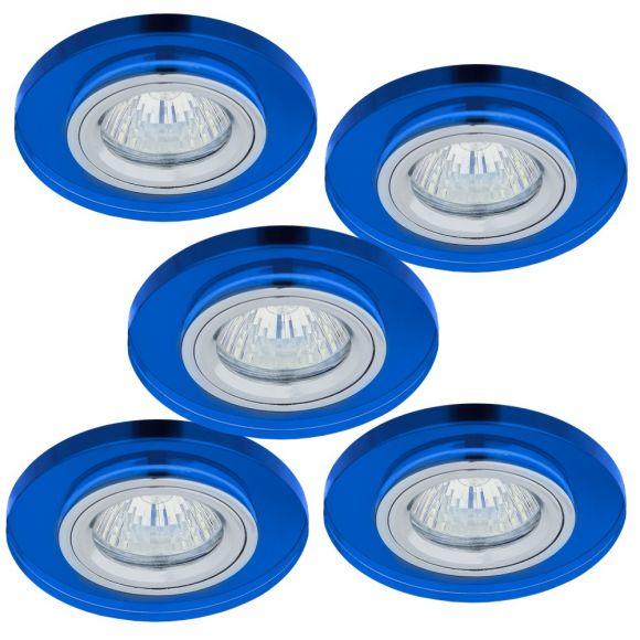 Einbaustrahler rund mit Glas blau, 5er-Set Halogen GU10 35W