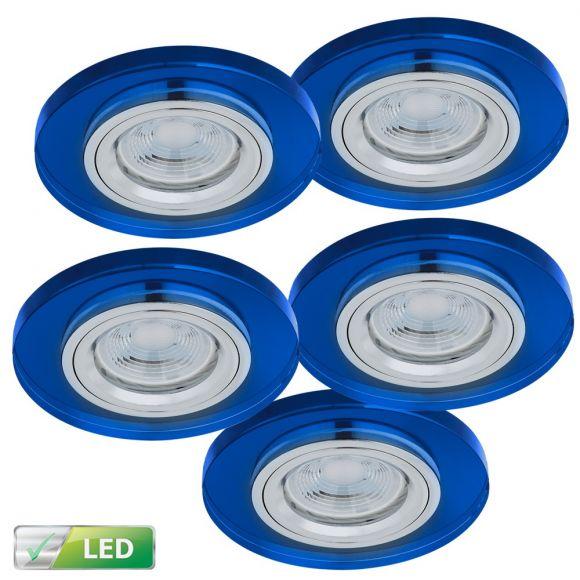 LHG Einbaustrahler rund mit Glas blau, 5er Set 5W LED GU10