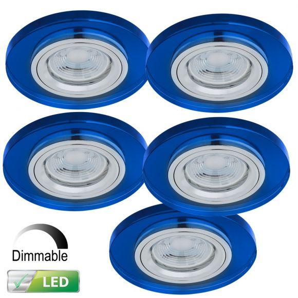 einbaustrahler rund mit glas blau dimmbar 5er set led gu10 5w wohnlicht. Black Bedroom Furniture Sets. Home Design Ideas