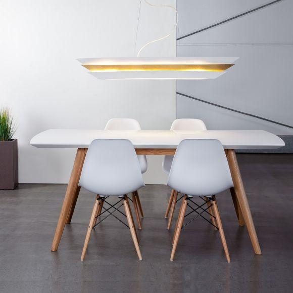 Elegante Pendelleuchte - dekorativer Schirm Weiß/ goldfarbig