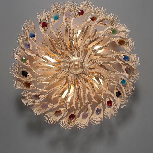 Erlesene Deckenleuchte - Blattgold Weiß - Bunte Kristalle